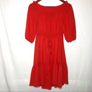 Vince Camuto Bright Orange Off Shoulder Dress Sz 4